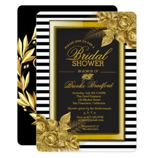 Art Deco Gold Roses & Stripes Bridal Shower Card
