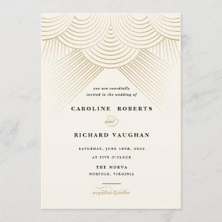 Art Deco Gold String Lights Wedding Invitations