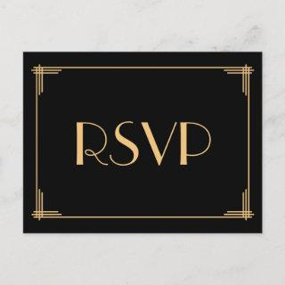 Art Deco Great Gatsby Wedding RSVP Postcards