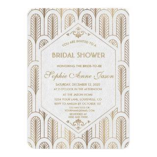 Art Deco Great Gatsby White Gold Bridal Shower Invitations