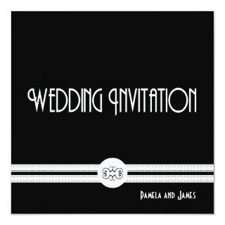 Art Deco Noir Chic Black and White Formal Wedding Invitations