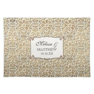Art Deco Nouveau Faux Gold Floral Damask Lace Placemat