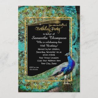 Art Deco Peacock Glam Old Hollywood Birthday Party Invitations
