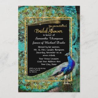 Art Deco Peacock Glam Old Hollywood Bridal Shower Invitations
