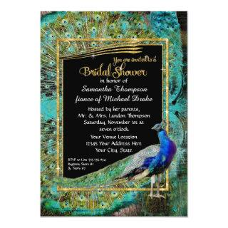 Art Deco Peacock Glam Old Hollywood Bridal Shower Invitation