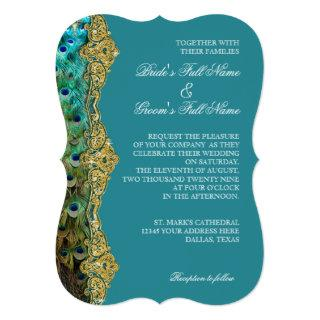Art Deco Peacock Gold Glitter Old Hollywood Gatsby Invitations