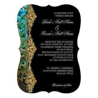 Art Deco Peacock Gold Glitter Old Hollywood Gatsby Invitation