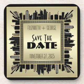 Art Deco Save the Date Champagne Gold Gatsby Glam Beverage Coaster