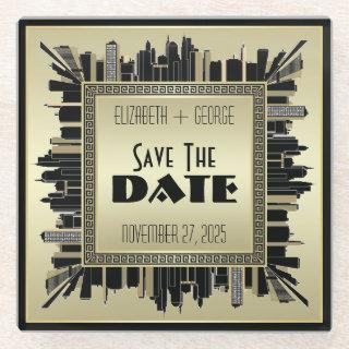 Art Deco Save the Date Champagne Gold Gatsby Glam Glass Coaster