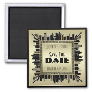 Art Deco Save the Date Champagne Gold Gatsby Glam Magnet