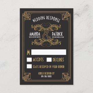 Art Deco Vintage Black and Gold Wedding RSVP Cards