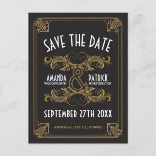 Art Deco Vintage Gold Wedding Save the Date Cards
