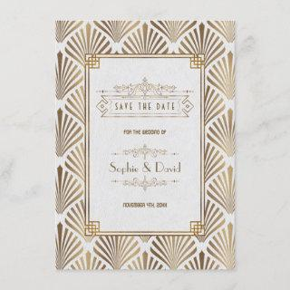 Art Deco White Gatsby 1920s Save The date