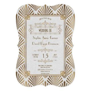 Art Deco White Gatsby 1920s Style Wedding Invitations