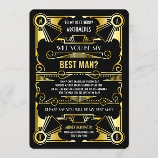 Art Deco Will You Be My Best Man Gold & Black Invitation