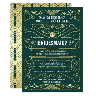 Art Deco Will You Be My Bridesmaid Gold Green Invitation