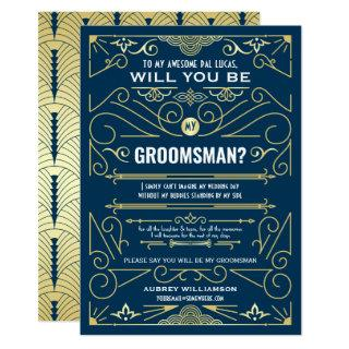 Art Deco Will You Be My Groomsman Gold Dark Blue Invitations