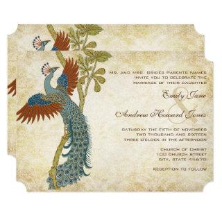 Art Nouveau Art Deco Peacock Birds Wedding Invitations
