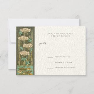 Art Nouveau Dragonfly Lily Pad RSVP Response Card