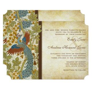 Art Nouveau Peacock Birds Wedding Invitation 3