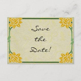 Art Nouveau Yellow Flowers Wedding Save the Date