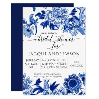 Asian Influence Blue White Floral 2 Bridal Shower Invitations