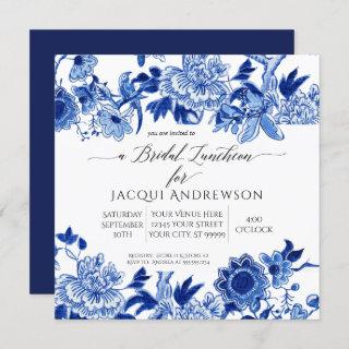 Asian Influence Blue White Floral Bridal Luncheon Invitations