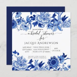 Asian Influence Blue White Floral |Bridal Shower Invitations