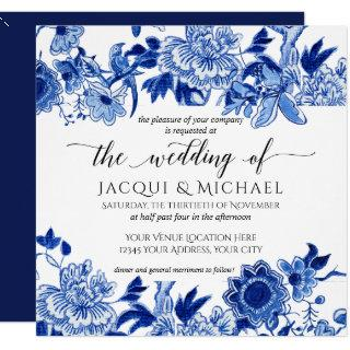 Asian Influence Blue White Floral Wedding Artwork Invitation