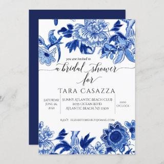 Asian Influence Floral Blue White Bridal Shower In