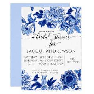 Asian Influence Light Blue Floral 3 Bridal Shower Invitation