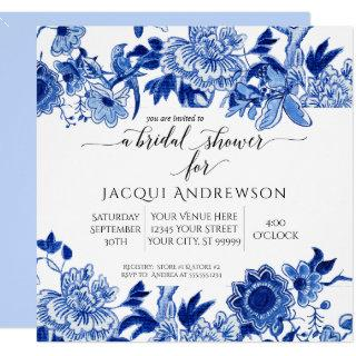 Asian Influence Light Blue Floral |Bridal Shower Invitation