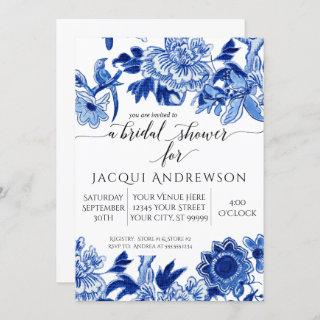 Asian Influence White Blue Floral Bridal Shower Invitation