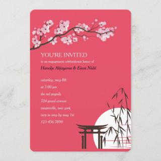 Asian Sakura Engagement Party Invitation