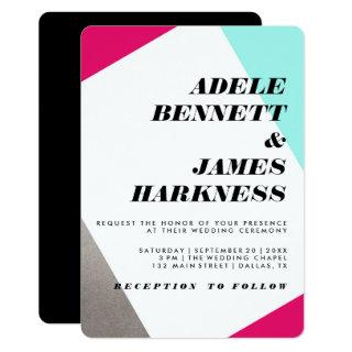 Asymmetrical Hot Pink Silver & Turquoise Wedding Invitation