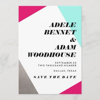 Asymmetrical Hot Pink & Turquoise Save the Date