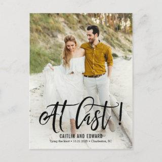 At Last EDITABLE COLOR Save The Date Postcard