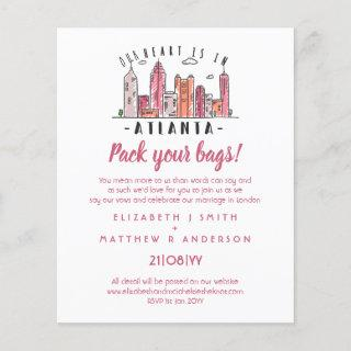 ATLANTA Skyline Wedding Invitations Handdrawn