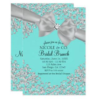 Audrey Blue Big White Bow Diamonds Bridal Shower Invitation