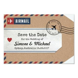 Australia Airmail Luggage Tag Save Date with Map Invitation