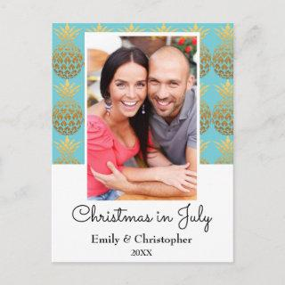 Australian Gold Foil Pineapple Christmas in July Holiday Postcard