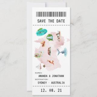 Australian Wedding Boarding Pass Save the Date