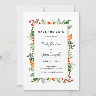 Autumn Blooms Fall Wedding Save The Date Card