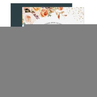 Autumn Bohemian Floral Gold Confetti Fall Wedding Invitation