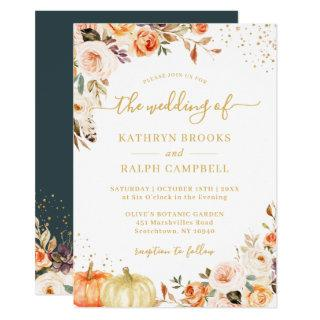 Autumn Botanical Floral Gold Glitters Fall Wedding Invitation