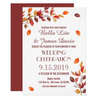 Autumn Branch Fall Leafs Wedding Invitations