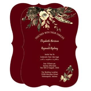 Autumn Burgundy Aged Watercolor Floral Wedding Invitations