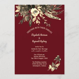Autumn Burgundy Aged Watercolor Floral Wedding Invitation