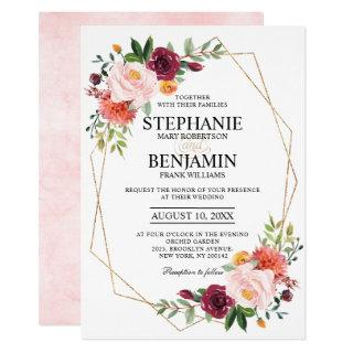 Autumn Burgundy Blush Floral geometric Wedding Invitations