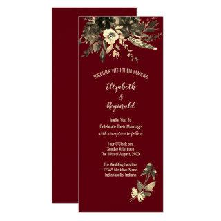 Autumn Burgundy Dried Floral in Watercolor Wedding Invitations